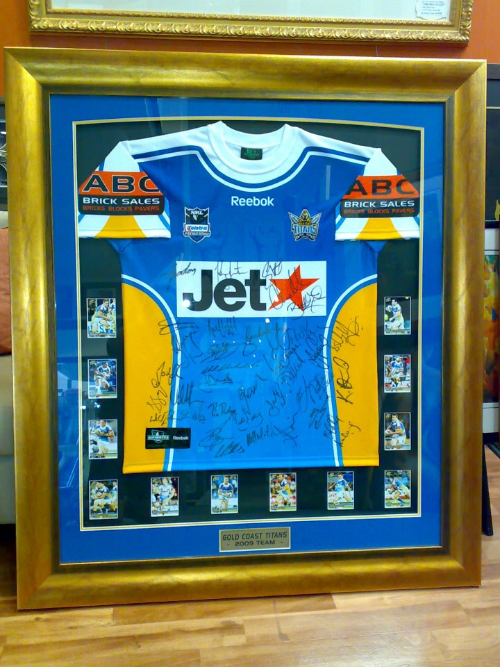 framed gold coast titans signed jersey