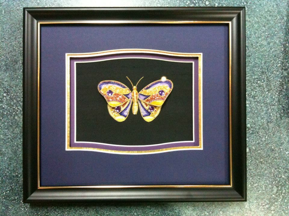gold beaded butterfly frame